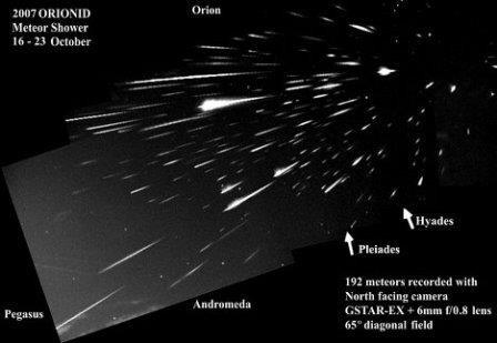 Яркий метеорный поток ориониды осветит ночное небо на этой неделе