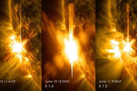 На солнце зафиксирована третья мощная вспышка. видео