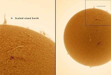 Над солнцем поднялась «эйфелева башня» размером в несколько наших планет